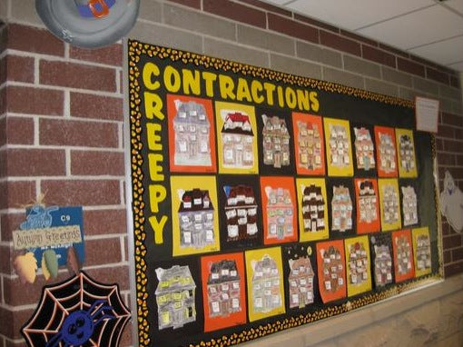 Creepy Contractions Halloween Language Arts Bulletin Board