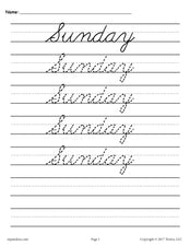 7 Days of the Week Cursive Handwriting Worksheets!