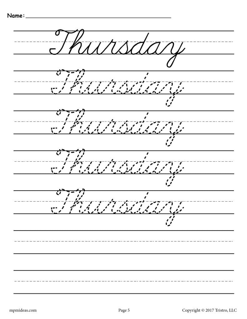 7 free cursive handwriting worksheets days of the week supplyme. Black Bedroom Furniture Sets. Home Design Ideas