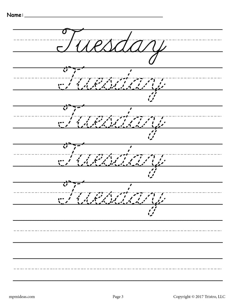 Days of the Week Cursive Handwriting Worksheets - Tuesday