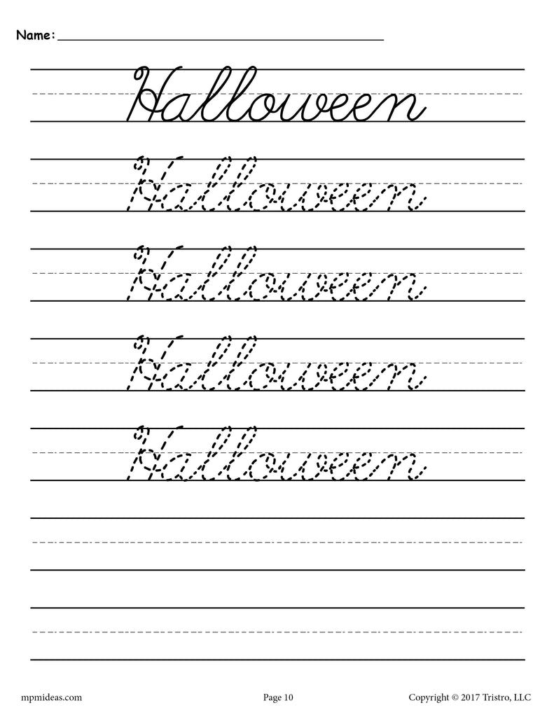 10 free cursive handwriting worksheets seasons and holidays supplyme. Black Bedroom Furniture Sets. Home Design Ideas