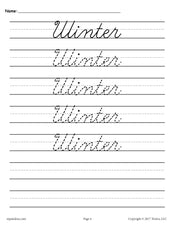 10 Seasons and Holidays Cursive Handwriting Worksheets!