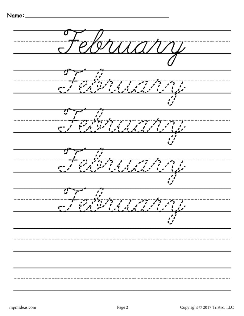 Months of the Year Cursive Tracing & Handwriting Worksheet - February