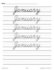 12 Months of the Year Cursive Handwriting Worksheets!