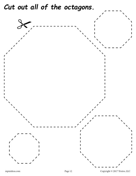 Free Octagons Cutting Worksheet Octagons Tracing