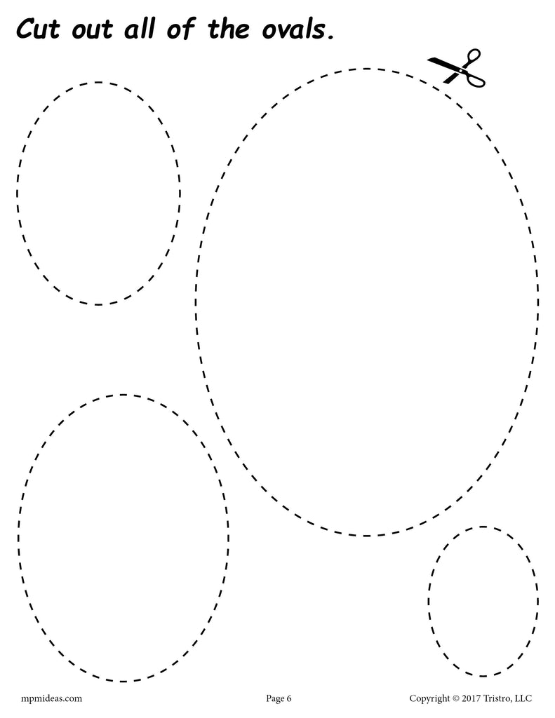 Free Ovals Cutting Worksheet Ovals Tracing Coloring