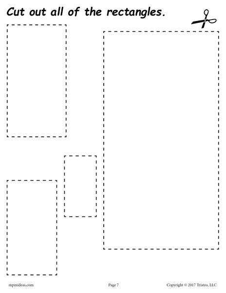 Free Rectangles Cutting Worksheet Rectangles Tracing
