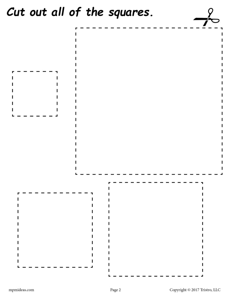 Squares Cutting Worksheet
