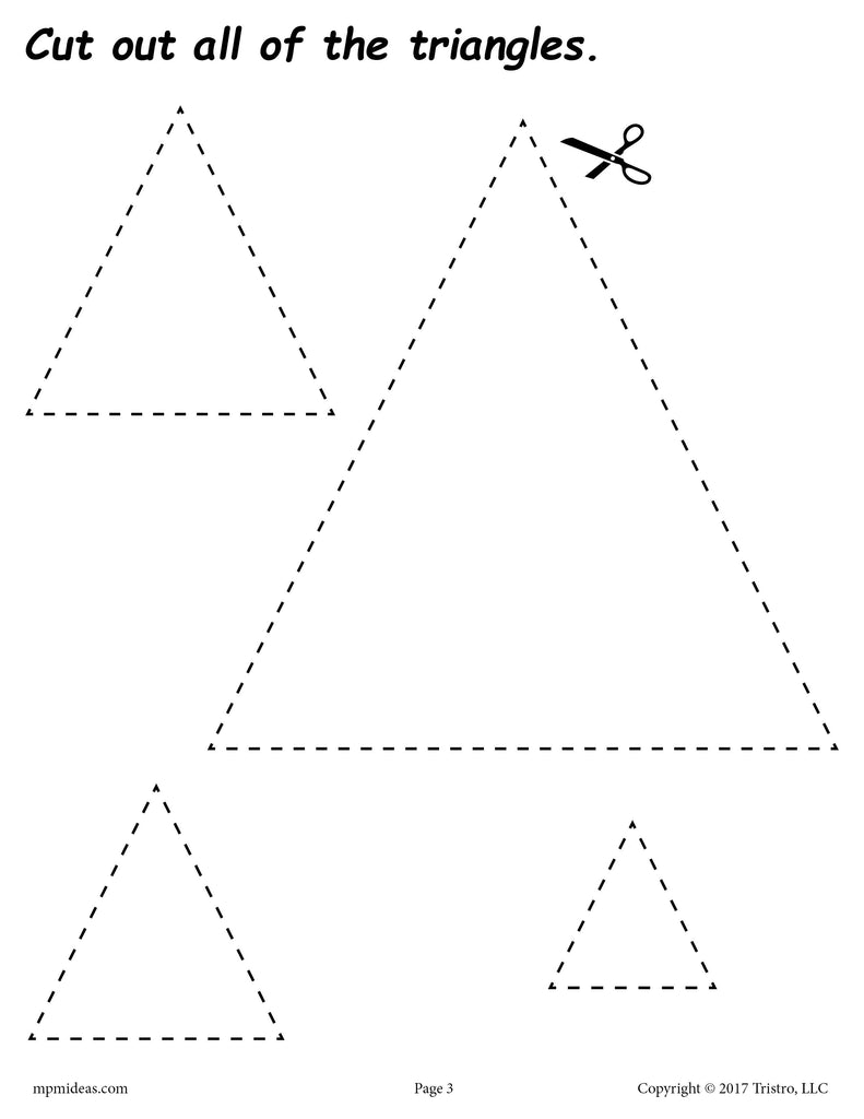 FREE Triangles Cutting Worksheet - Triangles Tracing & Coloring Page ...