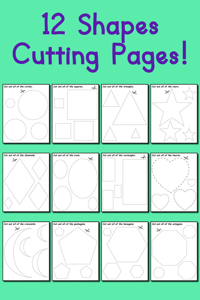 graphic regarding Printable Pictures of Shapes named 12 Printable Styles Slicing Worksheets!