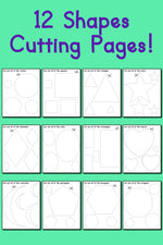 12 Printable Shapes Cutting Worksheets!