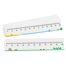 Write-On/Wipe-Off Double-Sided Number Lines (0-100 & 0-120), Set of 10