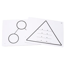 Write-On/Wipe-Off Fact Family Triangle Mats: Multiplication, Set of 10