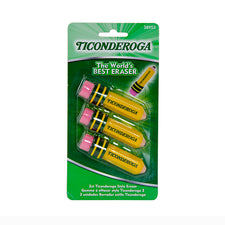Ticonderoga Pencil Shaped Erasers, 3Pk