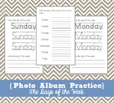 Photo Album Practice Pages - Days of the Week