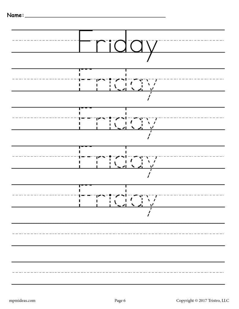 Days of the Week Handwriting Worksheets - Friday