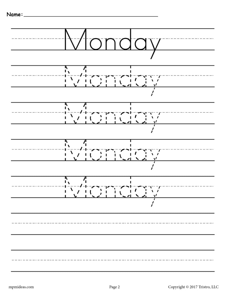 Days of the Week Handwriting Worksheets - Monday