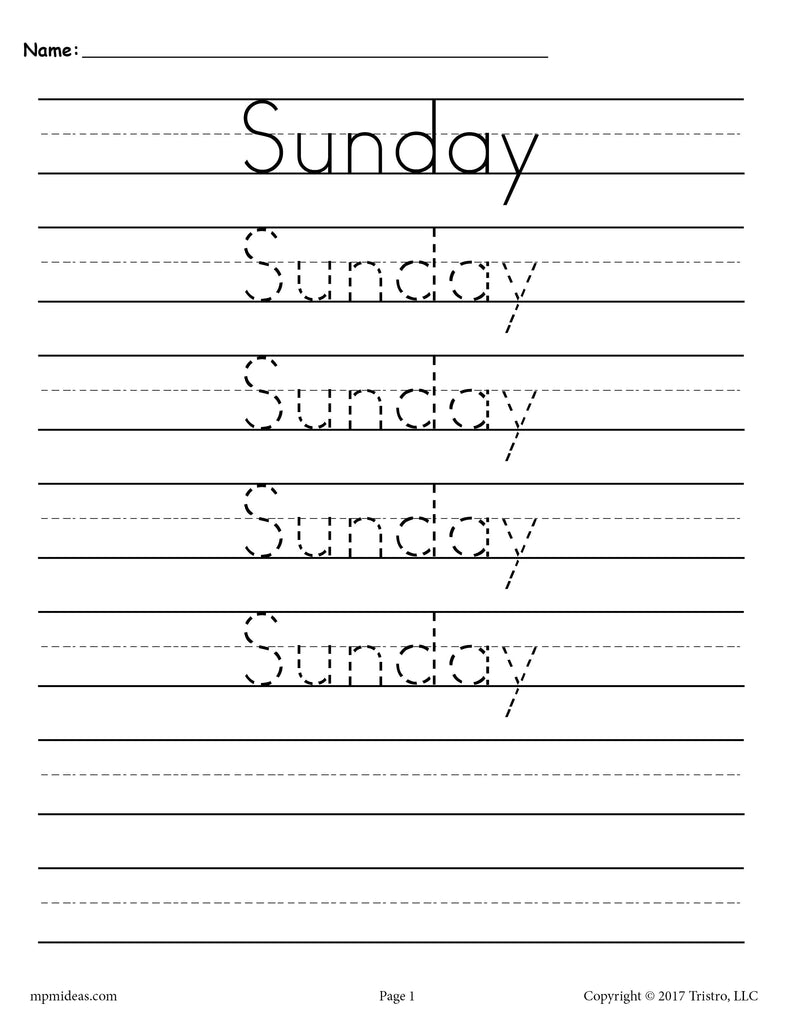 Days of the Week Handwriting Worksheets - Sunday!