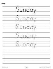 7 Days of the Week Handwriting Worksheets!