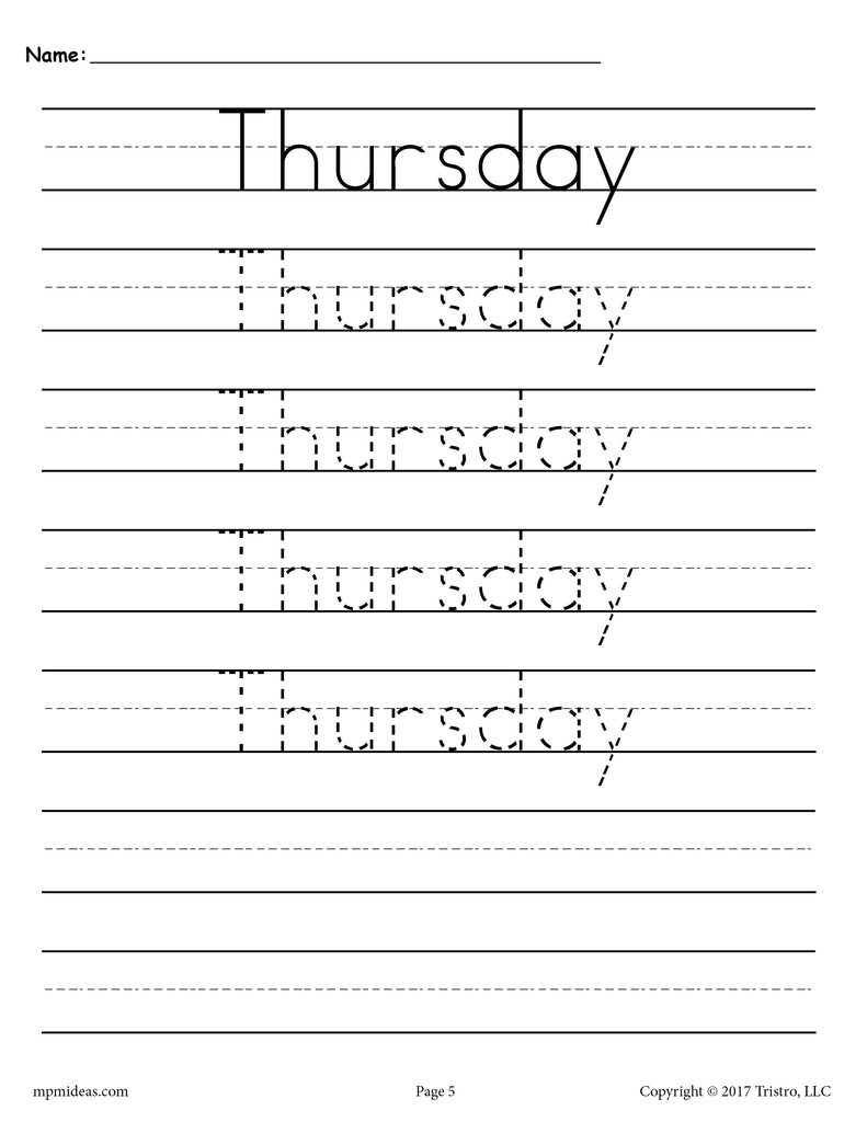 Days of the Week Handwriting Worksheets - Thursday