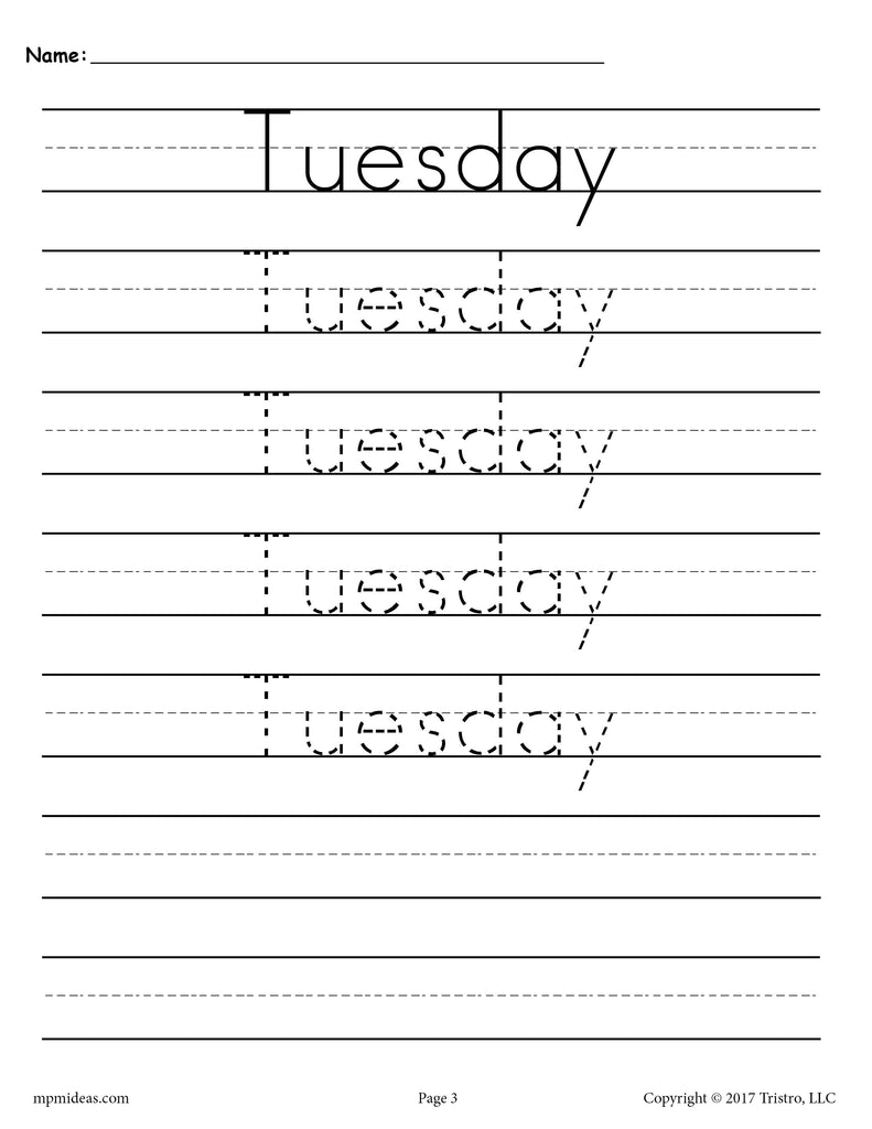 Days of the Week Handwriting Worksheets - Tuesday