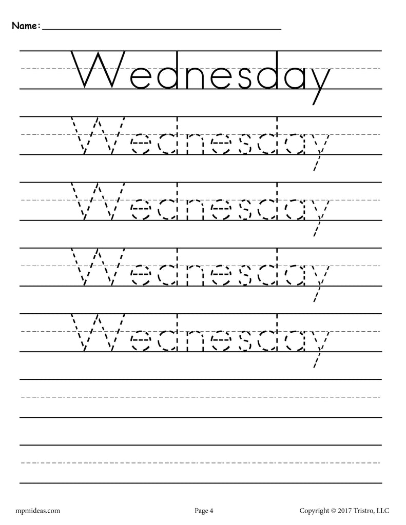 Days of the Week Handwriting Worksheets - Wednesday