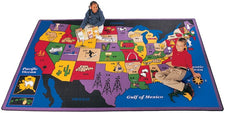 "Discover America United States Classroom Rug, 4'5"" x 5'10"" Rectangle"