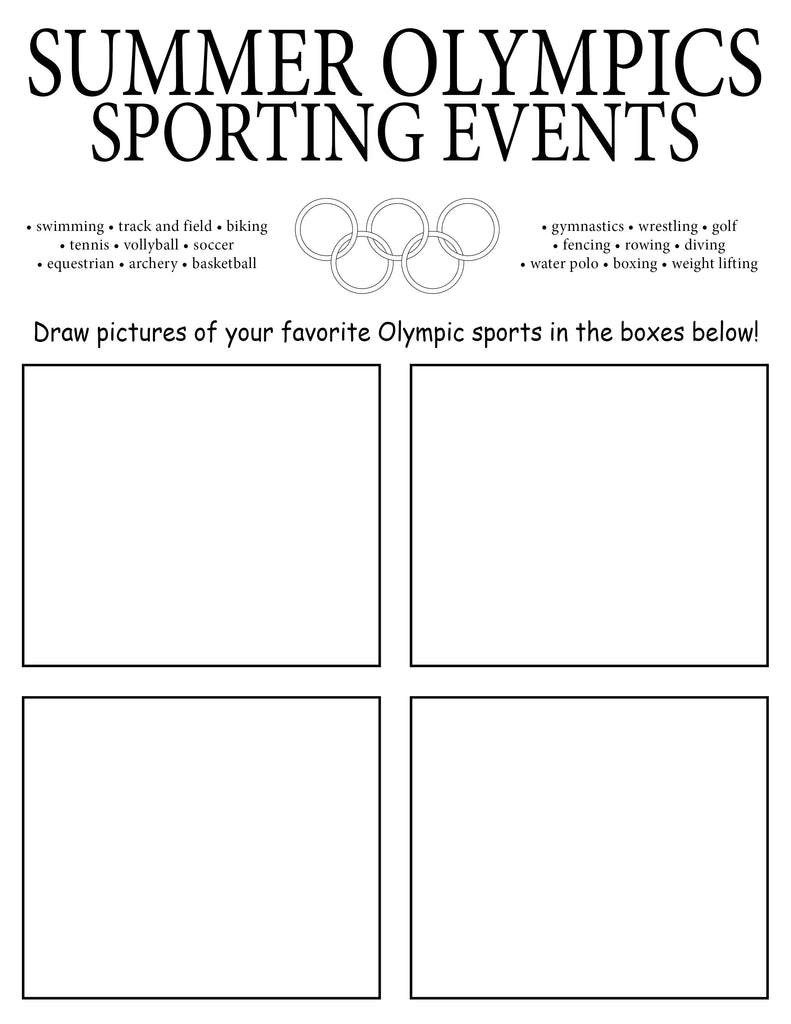 free printable summer olympic drawing worksheet supplyme. Black Bedroom Furniture Sets. Home Design Ideas