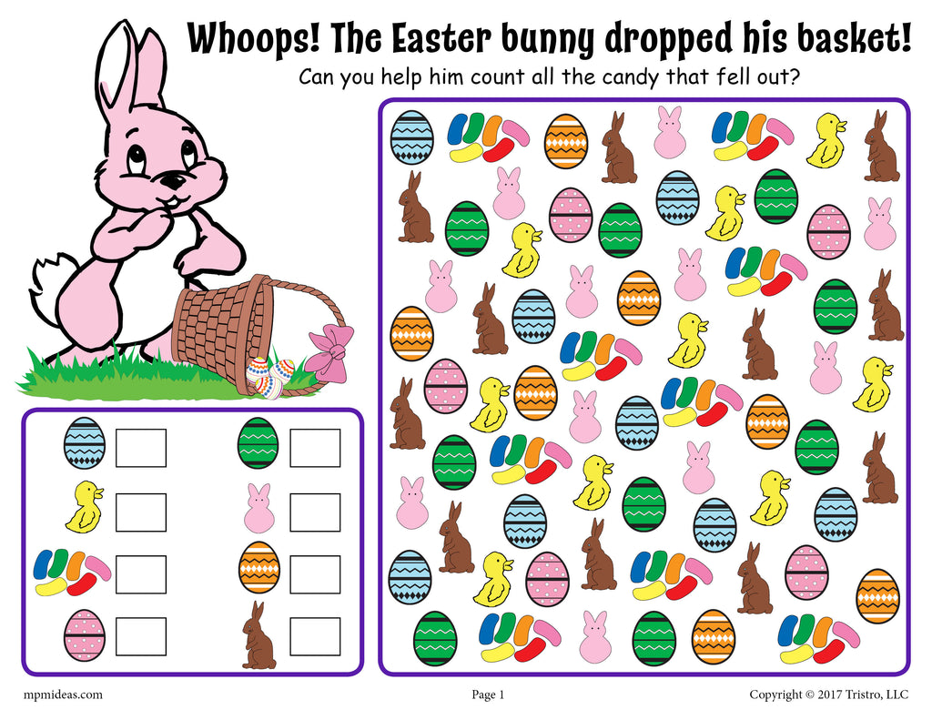 Easter I Spy - Printable Easter Counting Worksheet!