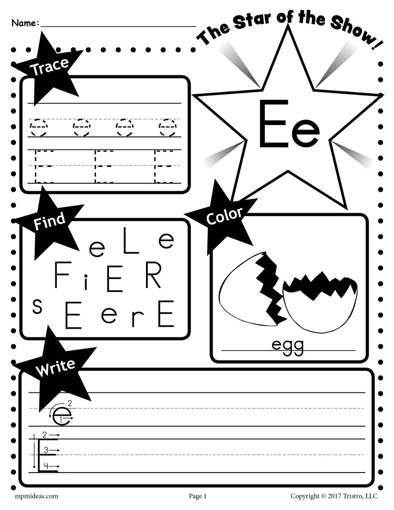 - Letter E Worksheet: Tracing, Coloring, Writing & More! – SupplyMe