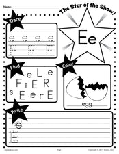FREE Letter E Worksheet: Tracing, Coloring, Writing & More!