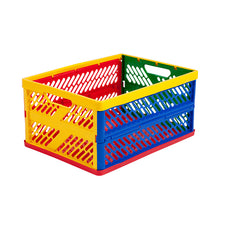 Collapsible Crates Ventilated Sides Large Multi-Colored