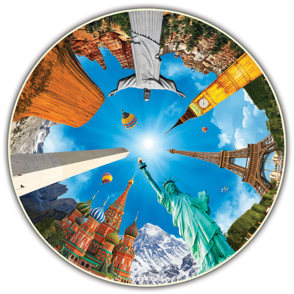 A Broader View Round Table Puzzle - Legendary Landmarks (500-Piece)
