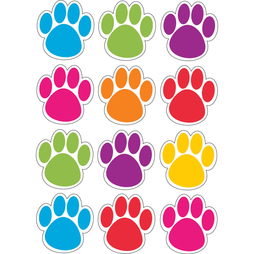 Ashley Productions Die-Cut Magnetic Colorful Paw Prints