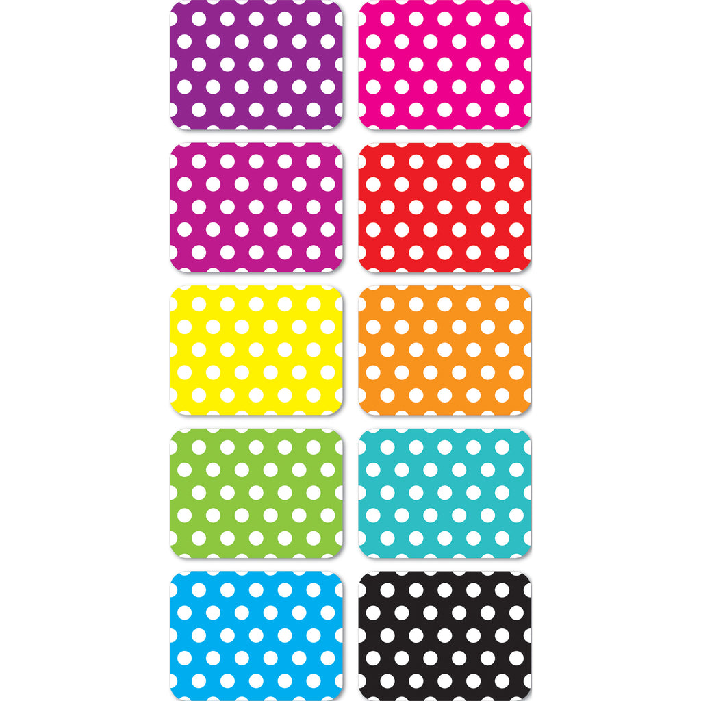 Ashley Productions Mini Magnetic White Dots on Assorted Colors Whiteboard Erasers, 10 Pack