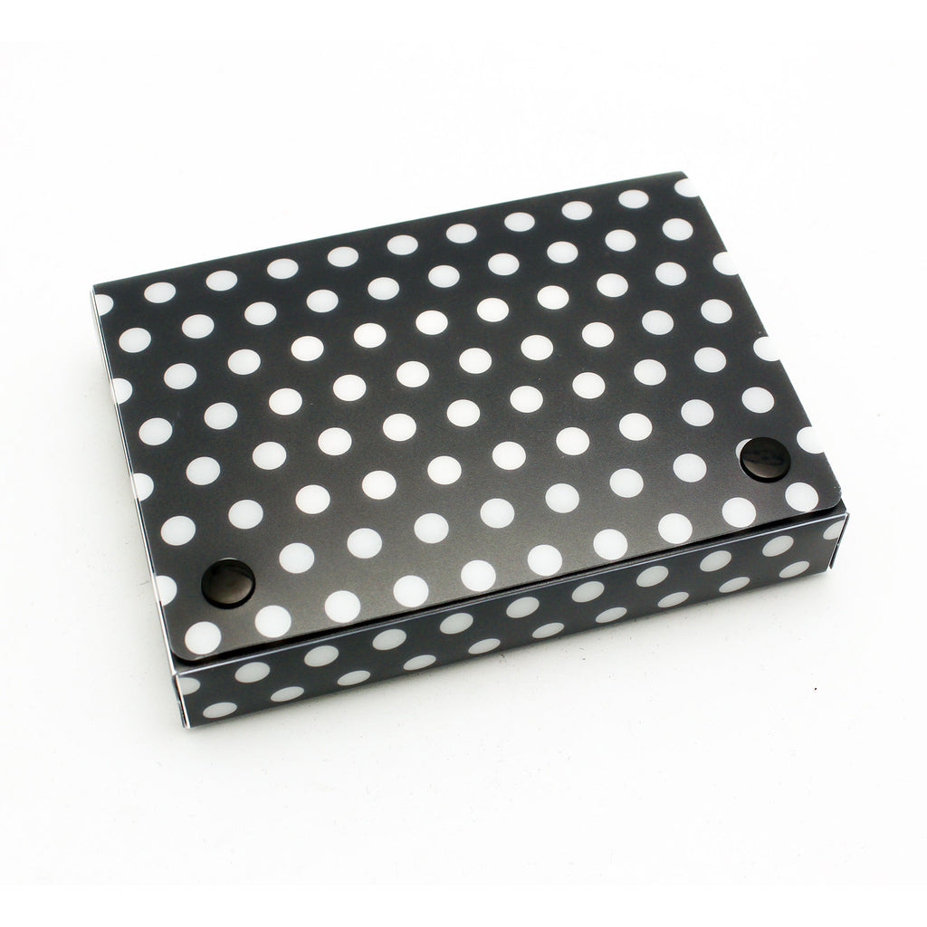 "Ashley Productions Black & White Dots Poly Index Card Box, 4"" x 6"""