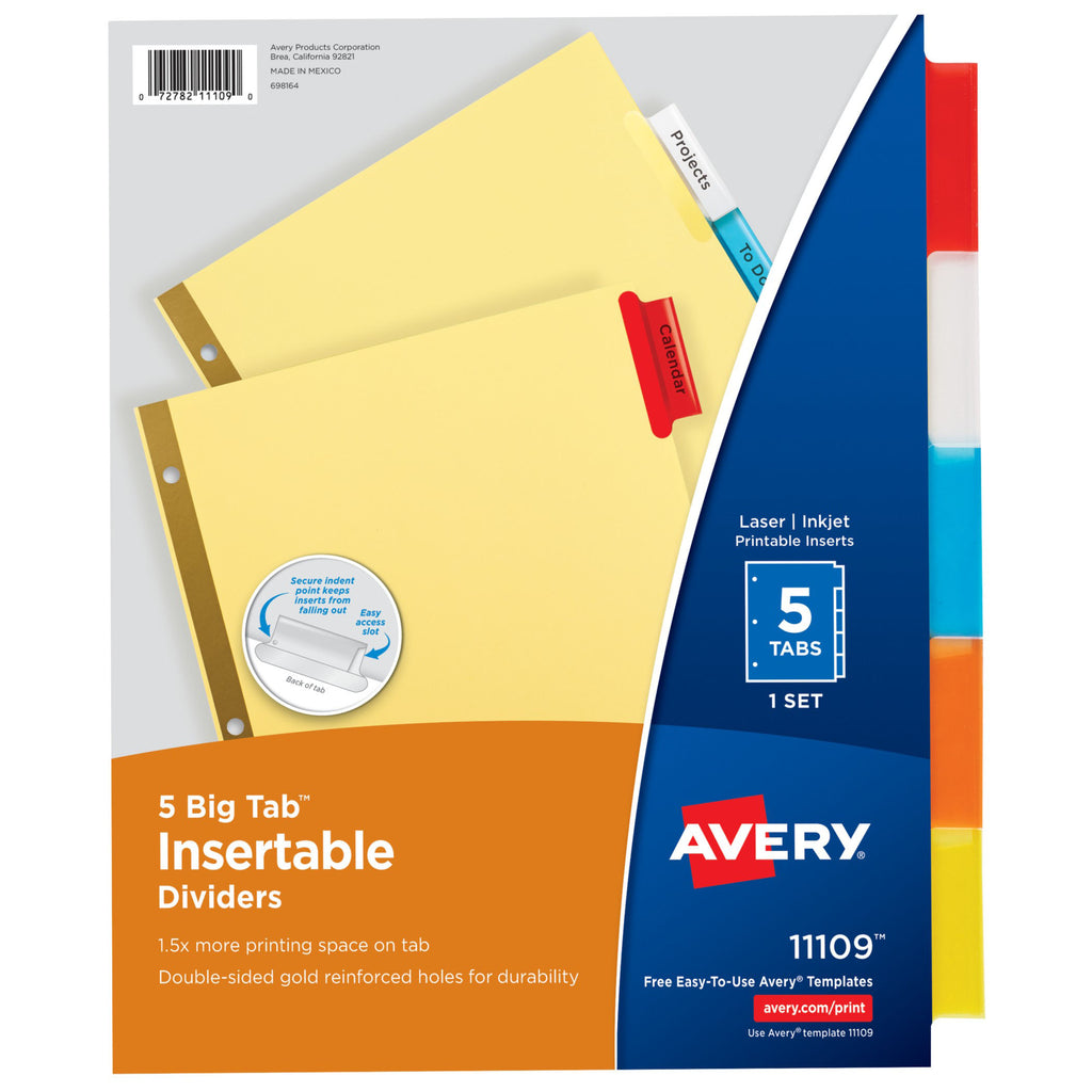 Avery® WorkSaver Big Tab Insertable Dividers, 5 Tab Set