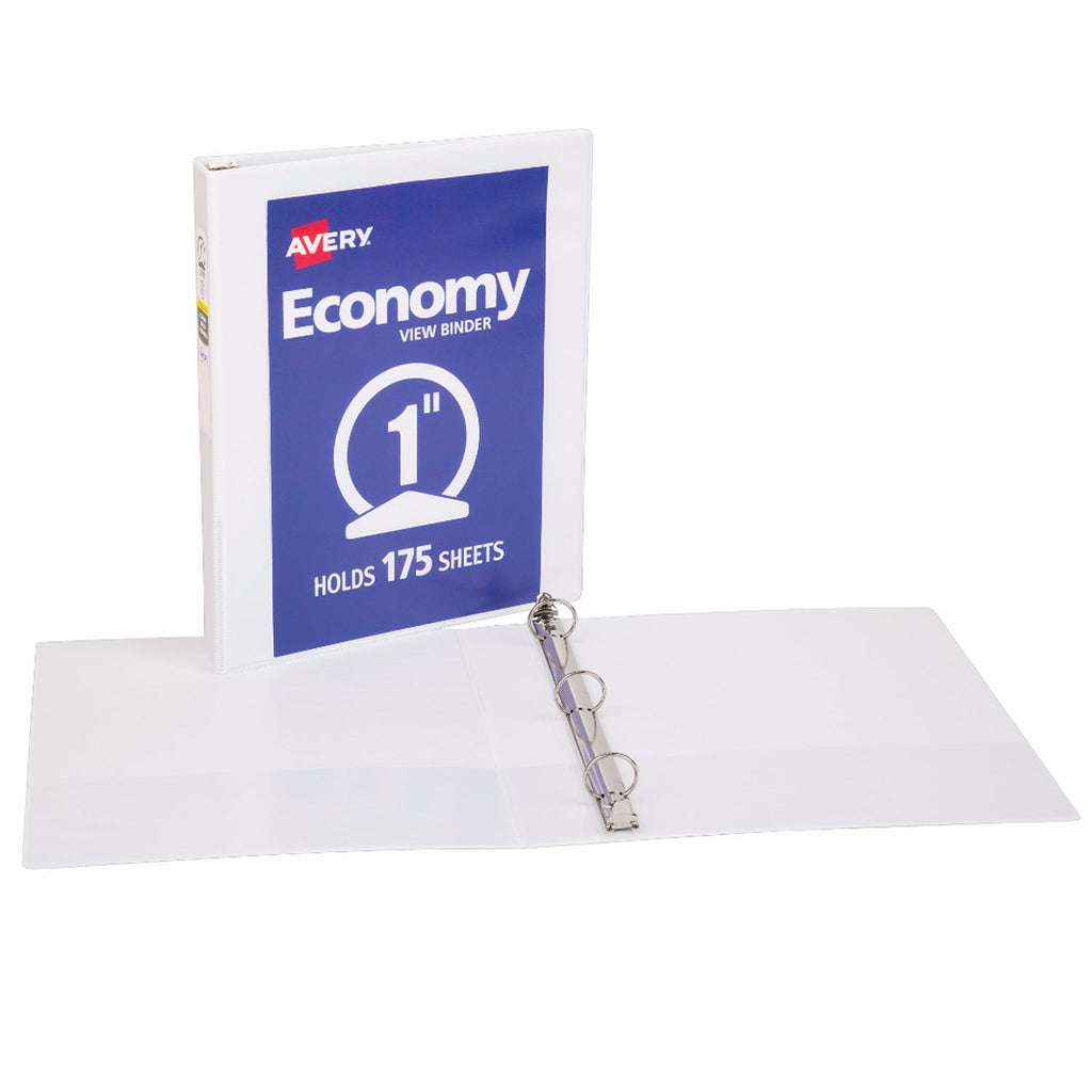 "Avery® Economy View Binder with 1"" Round Ring, White"