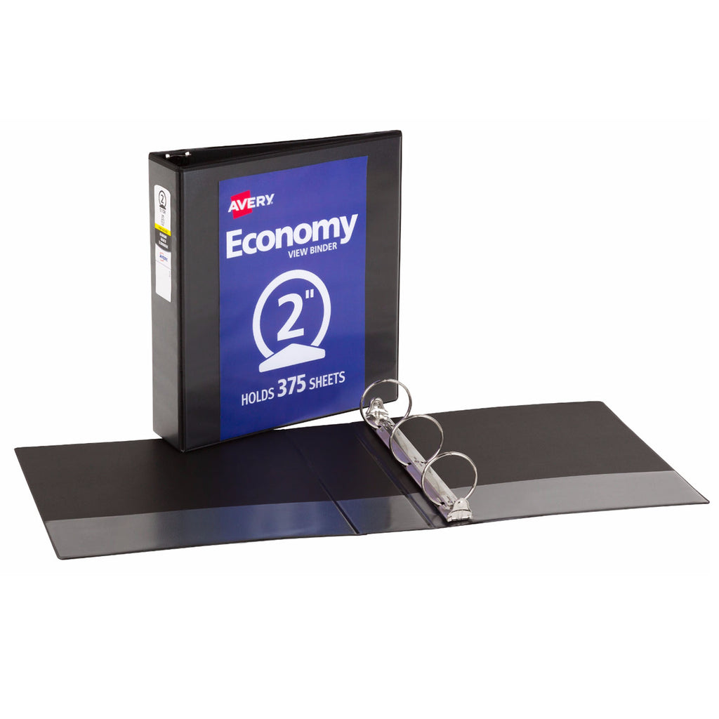 "Avery® Economy View Binder with 2"" Round Ring, Black"
