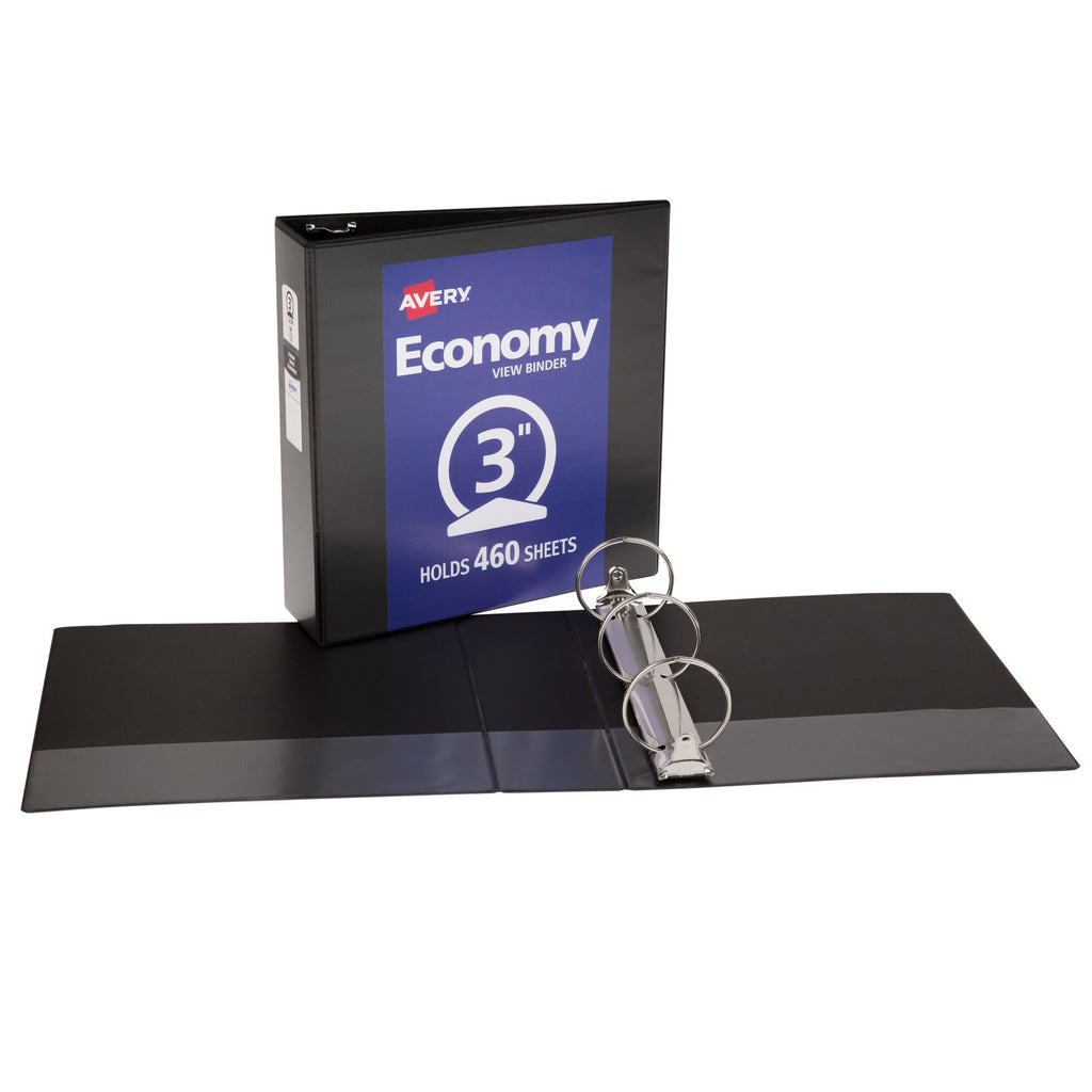"Avery® Economy View Binder with 3"" Round Ring, Black"
