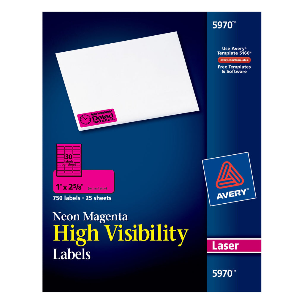 "Avery® Neon Magenta High-Visibility Labels for Laser Printers, 1"" x 2-5/8"", Pack of 750"