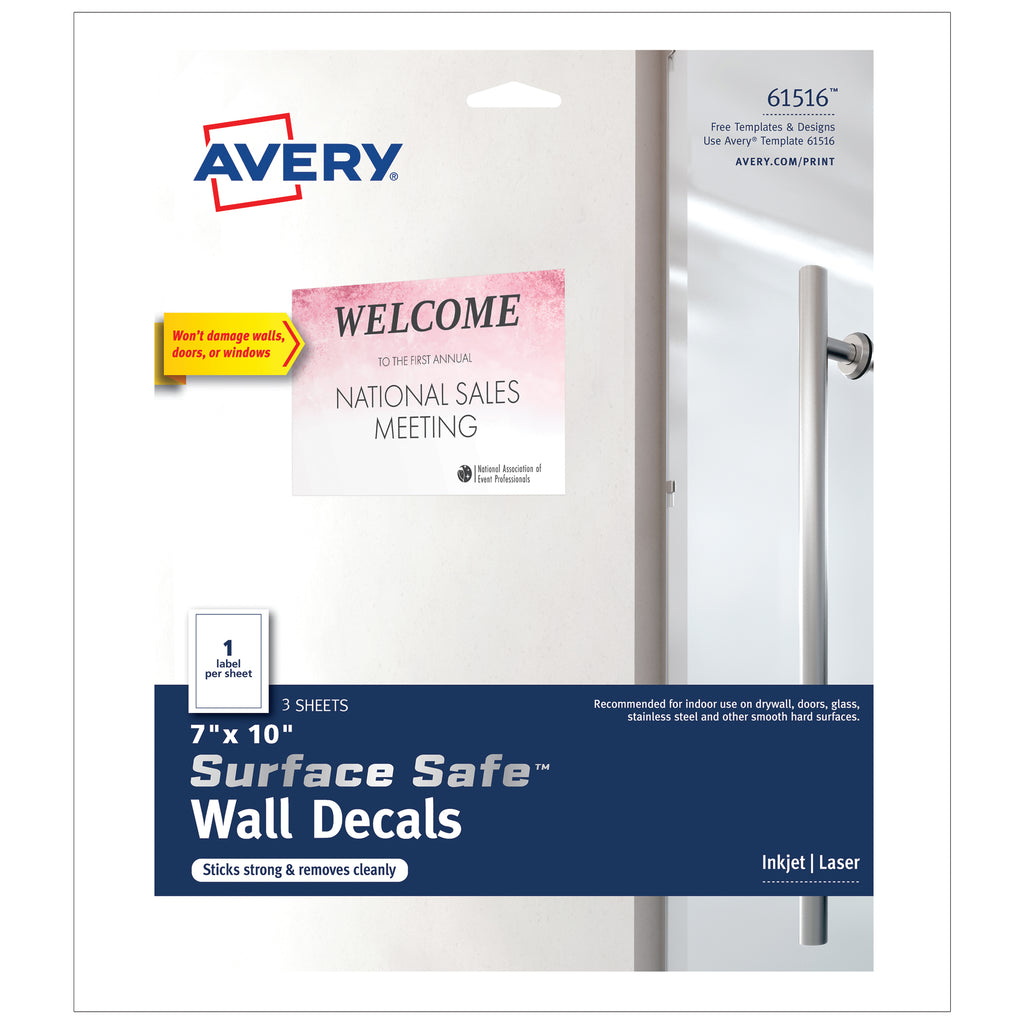 "Avery Surface Safe™ Wall Decals, 7"" x 10"""