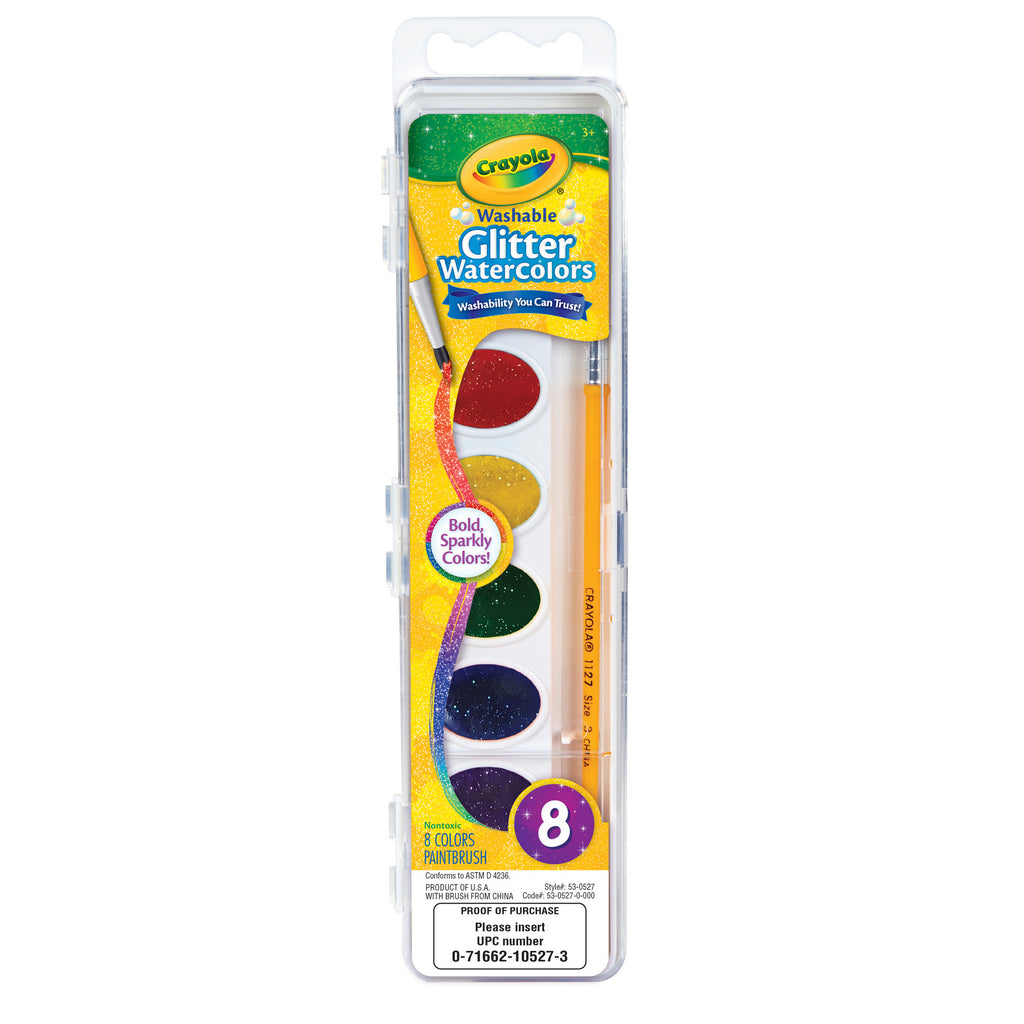 Crayola® Washable Glitter Watercolors, 8 Count