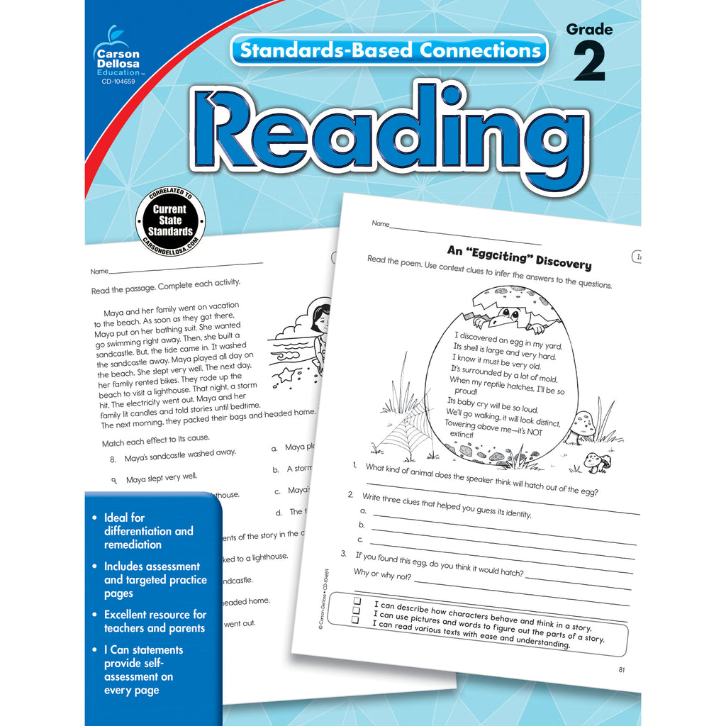 Carson Dellosa Standards-Based Connections: Reading Workbook, Grade 2