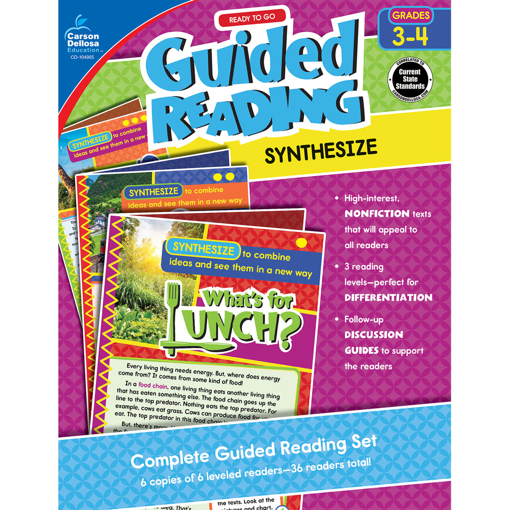 Carson Dellosa Guided Reading: Synthesize Resource Book, Grades 3-4