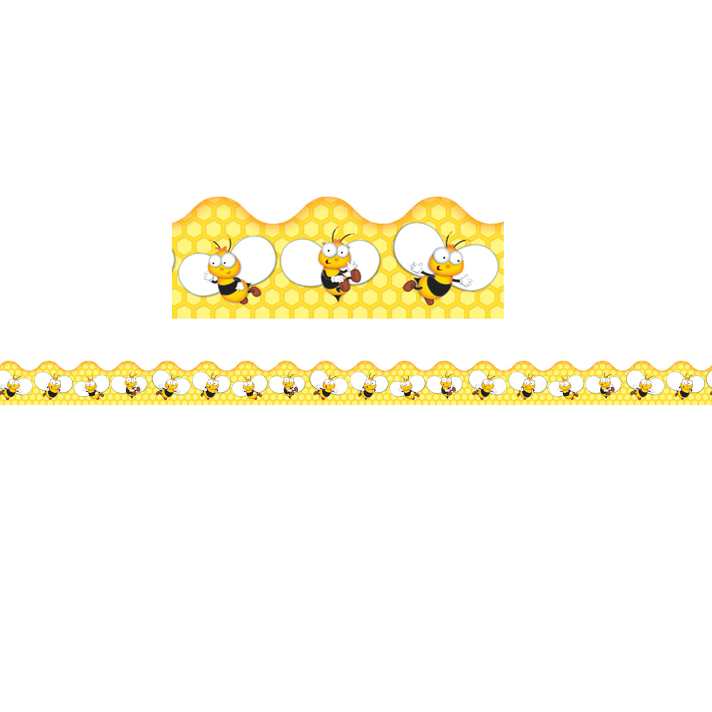 Carson Dellosa Buzz–Worthy Bees Scalloped Bulletin Board Borders
