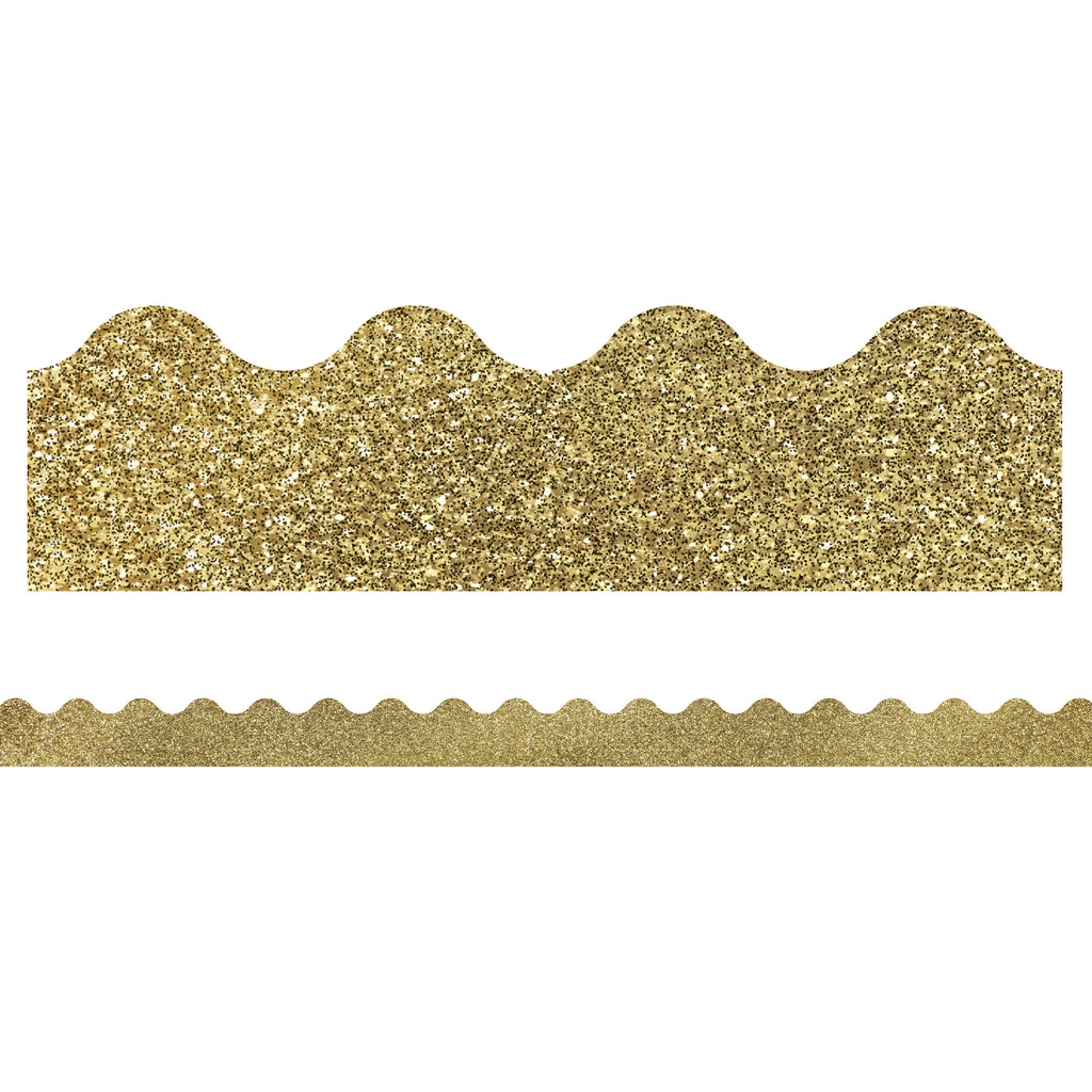 Carson Dellosa Sparkle and Shine Gold Glitter Scalloped Bulletin Board Border
