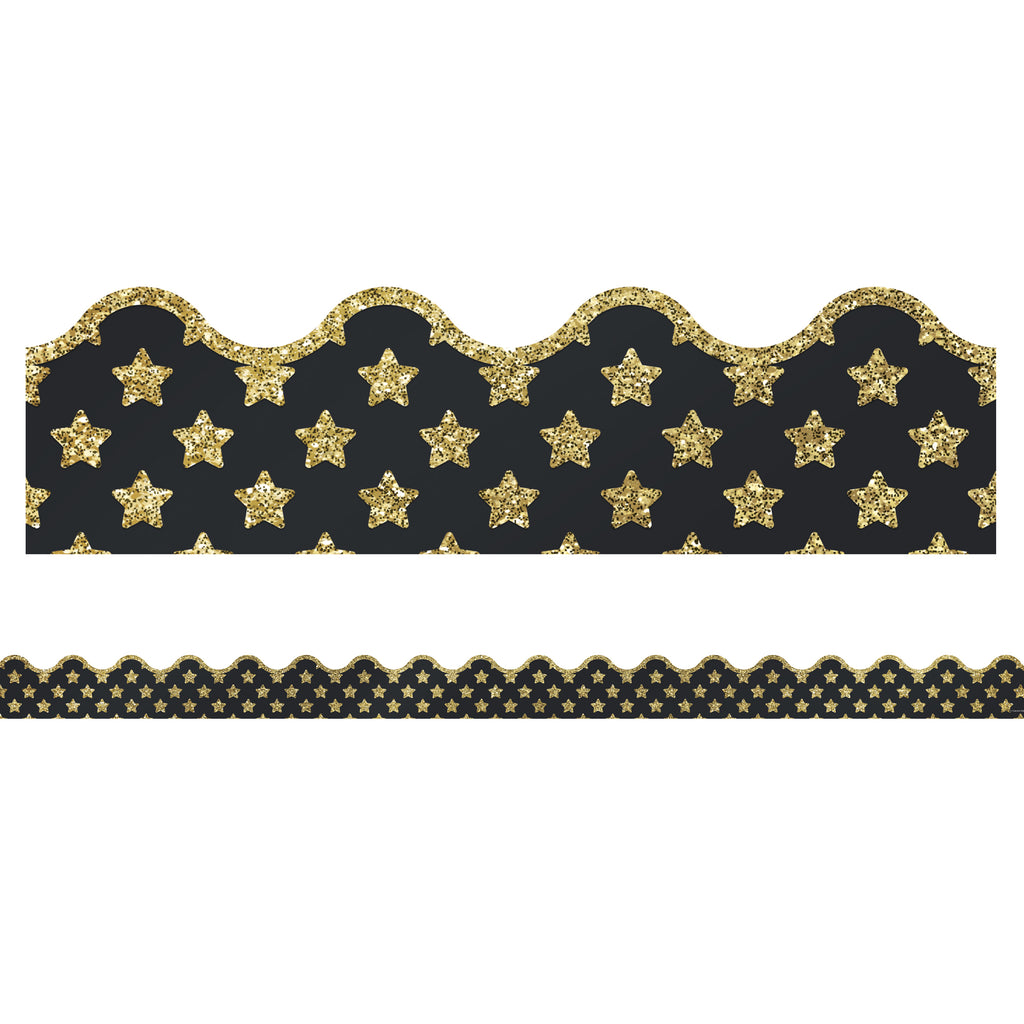 Carson Dellosa Sparkle and Shine Gold Glitter Stars Scalloped Bulletin Board Border