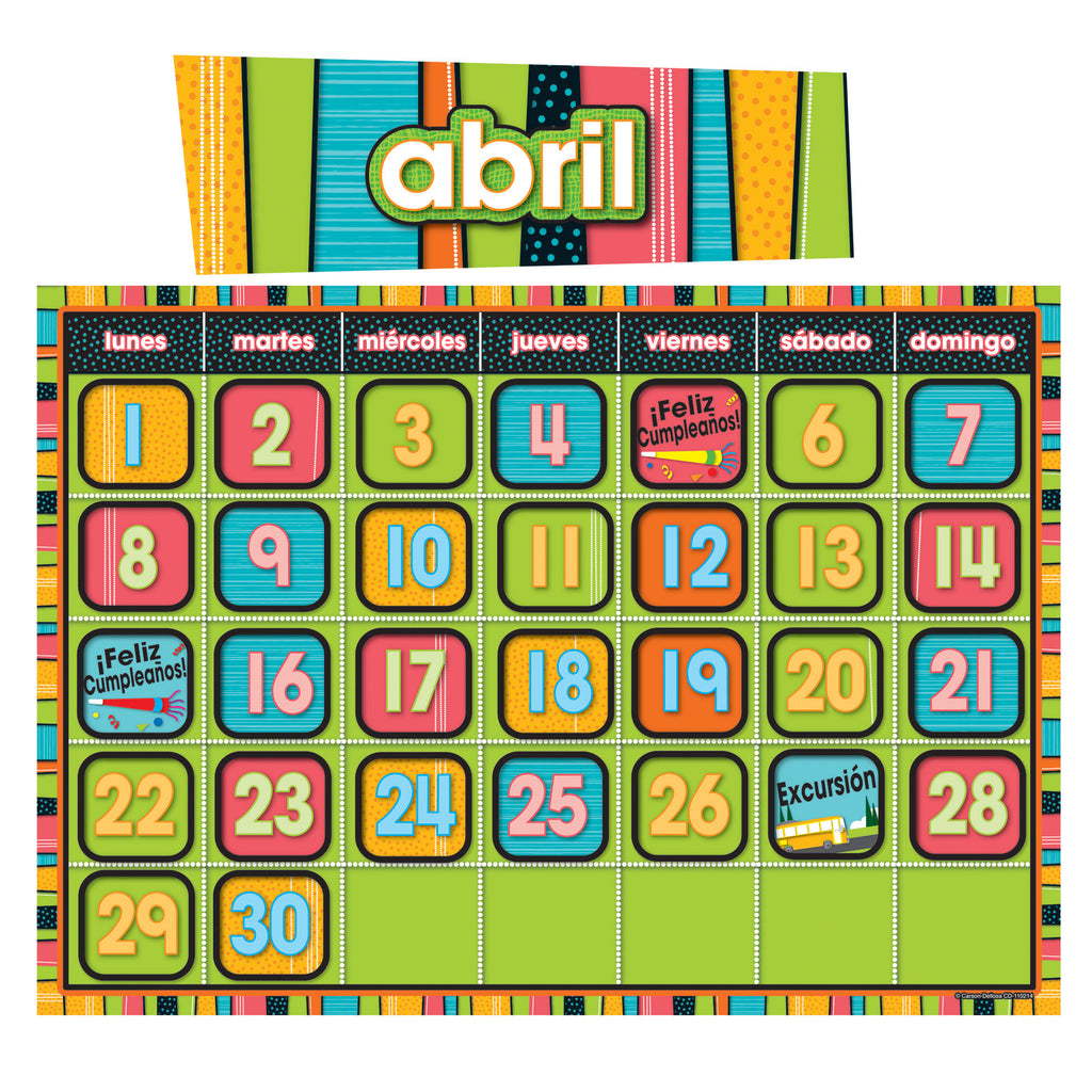 Carson Dellosa Stylin' Stripes Spanish Calendar Bulletin Board Set