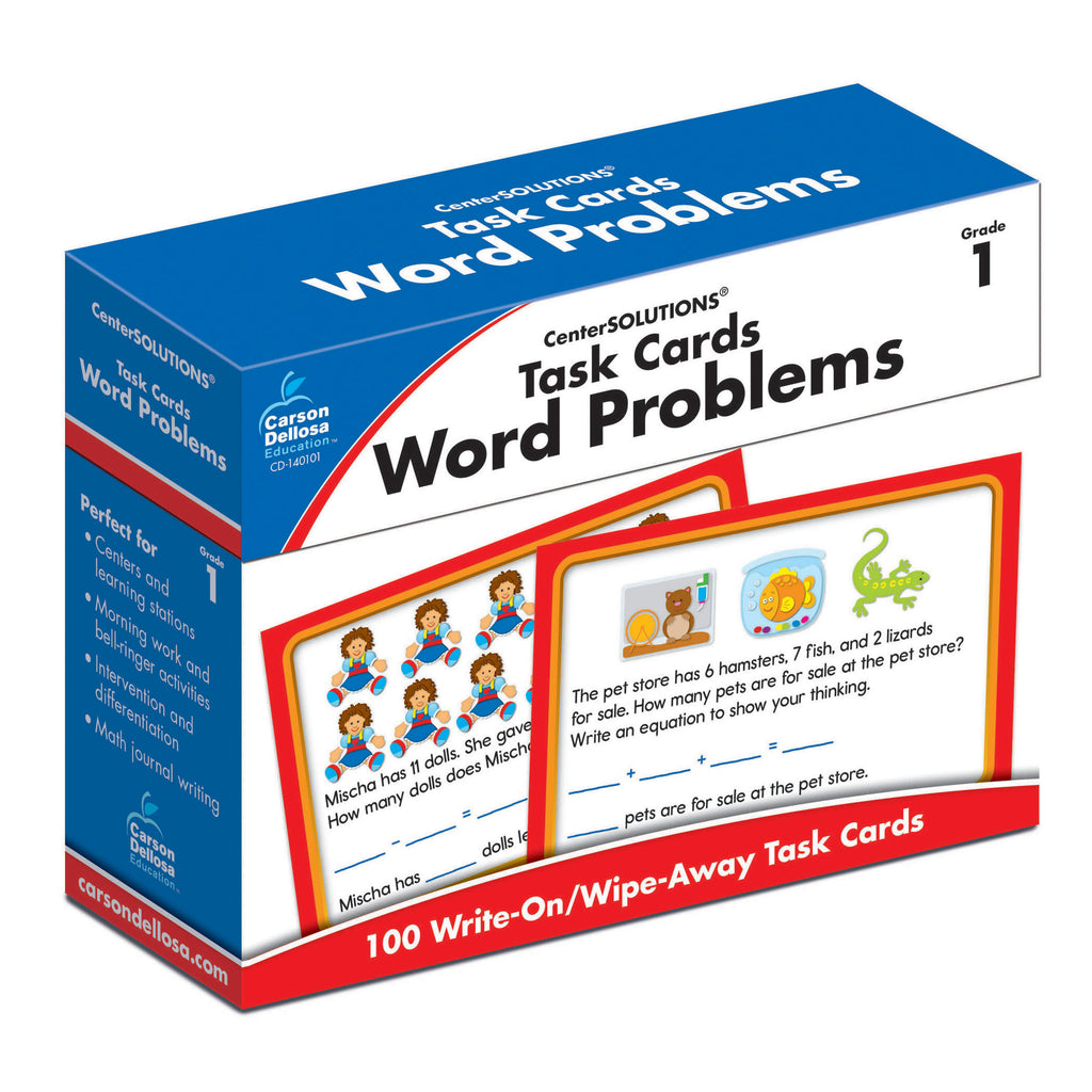 Carson Dellosa Task Cards: Word Problems Learning Cards, Grade 1